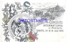 120026 SWITZERLAND GENEVE HERALDRY & MEMORY OF THE INTERNATIONAL MUSIC COMPETITION 1909 POSTAL POSTCARD - Svizzera