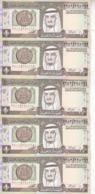 SAUDI ARABIA 1 RIYAL 1984 1379 P-21d  Sig/6 Lot X5 UNC Notes - Saoedi-Arabië