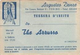"""0734 """"AUGUSTEO DANZE - TORINO - TESSERA D'INVITO AL THE' AZZURRO - ANNI '50"""" ORIGINALE - Biglietti D'ingresso"""