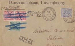 Lettre à Entête (Rousseau-Johann) Obl. Luxembourg-Ville Le 26/9/90 Sur N° 54 Pour Dieuze En Exprés + TP 10pfx2 Et 5pf - 1882 Alegorias