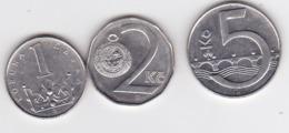 Tchequie ,  1,2 KC-1996, 5 Kc-1994 , Coin - Repubblica Ceca