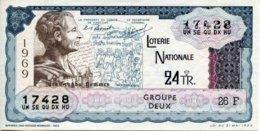 """BILLET DE LOTERIE De 1969 Sur Le Thème """"Grands Hommes : MONTESQUIEU"""" - Billets De Loterie"""