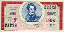 """BILLET DE LOTERIE De 1969 Sur Le Thème """"Les Grands Hommes : LAMARTINE"""" - Billets De Loterie"""