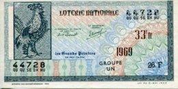 """BILLET DE LOTERIE De 1969 Sur Le Thème """"Les Grands Peintres : JEAN LURCAT (Coq Neige)"""" - Billets De Loterie"""
