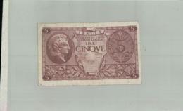 Billet De Banque ITALIA    1944  Sept 2019  Alb Bil - Italia – 5 Lire