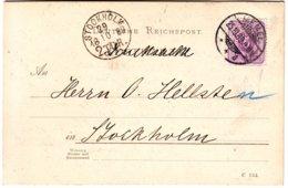 Carte Obl MEMEL 1889 Pour La SUEDE , TTB , Lettre , Memelgebiet - Memel (Klaïpeda)