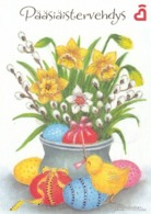 Postal Stationery - Bird - Chick - Easter Flowers - Daffodils - Willows - Heart Society - Suomi Finland - Postage Paid - Finlandia