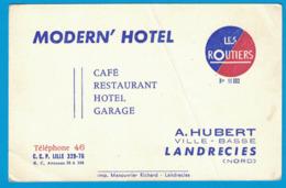 MODERN' HOTEL LES ROUTIERS A. HUBERT VILLE-BASSE LANDRECIES NORD CAFE RESTAURANT HOTEL GARAGE - Cartes De Visite