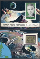 Yemen 1968 Mi#717B Vladimir Komarov IMPERF Gold Foil Embossed In Presentation Folder - Yemen