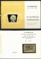 Yemen 1968 Mi#741 Konrad Adenauer Opt Refugee Relief Gold Foil Embossed In Presentation Folder - Jemen