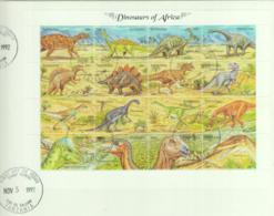 PREHISTORIC ANIMALS - TANZANIA  - 1992 -  DINOSAURS  SHEETLET OF 16  ON FDC - Preistorici