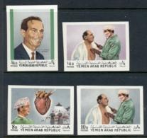 Yemen 1968 Mi#850B-853B First Heart Transplant, Barnard IMPERF MUH - Yémen
