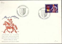 Suisse Poste Obl Yv: 840 Yv:0,5 Euro Journée Du Timbre (TB Cachet à Date) Montreux 2-12-73 - Briefe U. Dokumente
