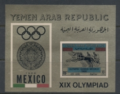 Yemen 1968 Mi#MS71 Summer Olympics Mexico, Gold Paper MS MUH - Yemen