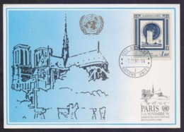 UNITED NATIONS (GENEVA) 1991 - PARIS Exhibition Special Cachet On POST CARD, First Day Cancelled - Autres