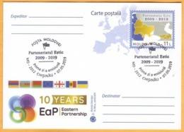 2019 Moldova FDC 10 Years. Eastern Partnership. Georgia, Azerbaijan, Belarus, Armenia, Ukraine. Postcard.Flags. - Moldavie