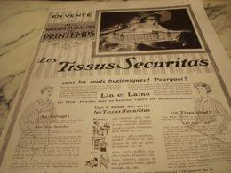 ANCIENNE PUBLICITE TISSUS SECURITAS AU MAGASIN  PRINTEMPS 1910 - Unclassified