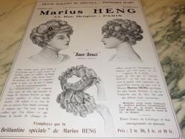 ANCIENNE PUBLICITE LES POSTICHES COIFFURE DE MARIUS HENG 1910 - Accessories