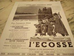 ANCIENNE PUBLICITE VACANCES  ECOSSE  1935 - Other