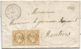 SAVOIE N° 21 PAIRE GC 3604  TYPE 22 ST FOY DE TARENTAISE 14 DEC 1864  LETTRE +OR RARE - Postmark Collection (Covers)