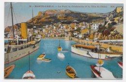 (RECTO / VERSO) MONTE CARLO EN 1933 - N° 18 - LE PORT - BEAU TIMBRE ET CACHET DE MONACO - CPA COULEUR VOYAGEE - Harbor