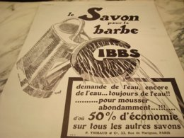 ANCIENNE PUBLICITE LE SAVON A BARBE   GIBBS  1927 - Perfume & Beauty