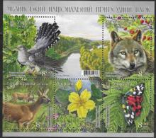 UKRAINE, 2019, MNH, NATIONAL PARKS, FLORA, FAUNA, BIRDS, BUTTERFLIES, WOLVES, DEER, FLOWERS,  SHEETLET - Birds
