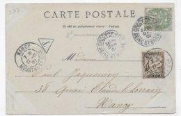(RECTO / VERSO) VILLIERS SUR MORIN EN 1901- LA PICARDIE - TIMBRE TAXE - BEAU CACHET - CPA PRECURSEUR VOYAGEE - 77 - 1859-1955 Lettres & Documents