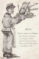 Rare Cpa Humoristique Menu Tête De Cochon à La Guillaume - 1914-18