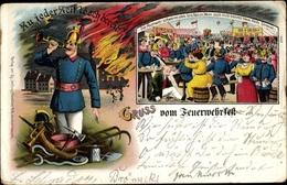 Lithographie Sarstedt Niedersachsen, Feuerwehrfest - Allemagne