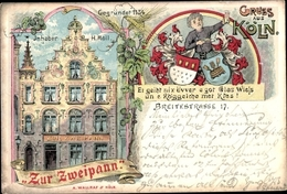 Passepartout Blason Lithographie Köln Am Rhein, Zur Zweipann, Gegründet 1134, Breitestraße 17 - Germany