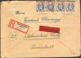 Frz.Zone 8 X 3,10 X 8 U.4 X 15 Pfg.Wappen Auf Eil-Einschreibebrief V.1947 Aus Ludwigshafen Portogerecht - Französische Zone