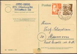 Frz.Zone Baden 2 U.10 Pfg.Persönlichkeiten Auf Postkarte V.1948 Aus Offenburg - Zone Française