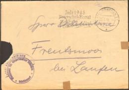 """Bizone Stempel """"Frei Durch Ablösung"""" A.Brief D.Finanzamtes München V.1948 M.Serienstempel Juli 1948 Feuerschutzmonat - Bizone"""