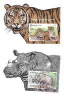 Malaysia 2019 Wildlife Conservation Tiger Rhino 2 S/S MNH - Malaysia (1964-...)