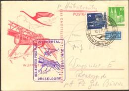 Helikopter Postflug Wuppertal-Elberfeld-Düsseldorf V1951, Aerophilatelie  5 U.10 Pfg.Bauten Sonderstempel - Hélicoptères