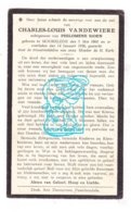 DP Charles L. Vandewiere ° Moorslede 1860 † 1936 X Philomène Sioen - Devotieprenten