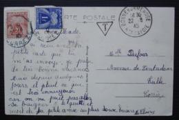 Bonne Sur Menoge 1945 (Haute Savoie) Carte Taxée Pour Tulle (Corrèze) - Poststempel (Briefe)
