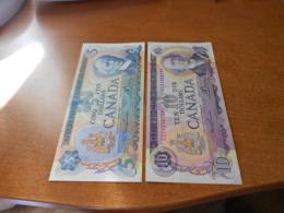 CANADA    5   AND   10      DOLLARS     OLD     BILLETS     HIGH  GRADE - Kanada