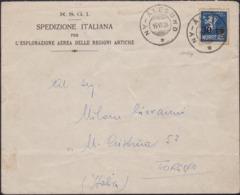 """541 Norvegia - Lettera Intestata Alla """"Spedizione Artica Del Dirigibile Italia"""" Spedita Dalla Baia Del Re Ad NY Alesund - Storia Postale"""