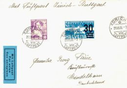 SCHWEIZ 1936 Selt. Kab.-Flugpostbrief ZÜRICH - STUTTGART (Endziel MINDELHEIM) - Otras Cartas