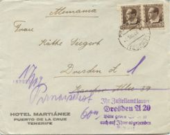 """SPANIEN 1935 5 C (Paar) MeF Brief Von """"PUERTO DE LA CRUZ - TENERIFE"""" N. DRESDEN - 1931-50 Cartas"""