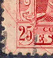 SPANIEN 1922 König Alfons XIII 25 C. Karmin Gest. Pra.-Stück, ABART: STRICHE!!! - Abarten & Kuriositäten