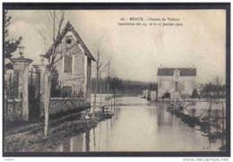 Carte Postale 77. Meaux  Innondation  Janvier 1910  Chemin De Velours Trés Beau Plan - Meaux