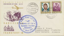 SPANIEN 3 Erstflüge M Dt.Lufthansa 1963 Von BARCELONA U 1963/76 Von MADRID N BRD - Luftpost