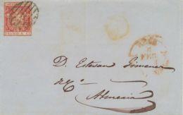 SPANIEN 1854, Wappen M. Königskrone 6 Cs. Vollrandig M. Gitterstpl. A. Kab.-Bf. - 1850-68 Reino: Isabel II