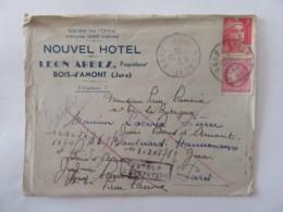 Enveloppe à En-tête Du Nouvel Hôtel - Leon Arbiez - Bois D'Amont (Jura) - Vallée De L'Orbe - Timbres YT 679/716 - 1947 - Marcophilie (Lettres)