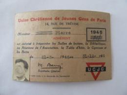 Carte De L'Union Chrétienne Des Jeunes Gens De Paris Valide En 1946 - Vignette 1945 - Documents Historiques