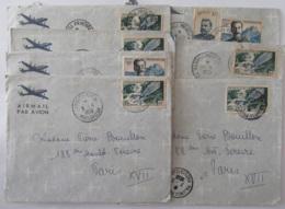 Madagascar - Lot De 7 Enveloppes Timbrées Vers Paris Et Tananarive Depuis Majunga Et Ambato-Boeni - 1956 - Lettres & Documents