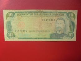 DOMINIQUE 10 PESOS 1975-88 CIRCULER(B.4) - República Dominicana